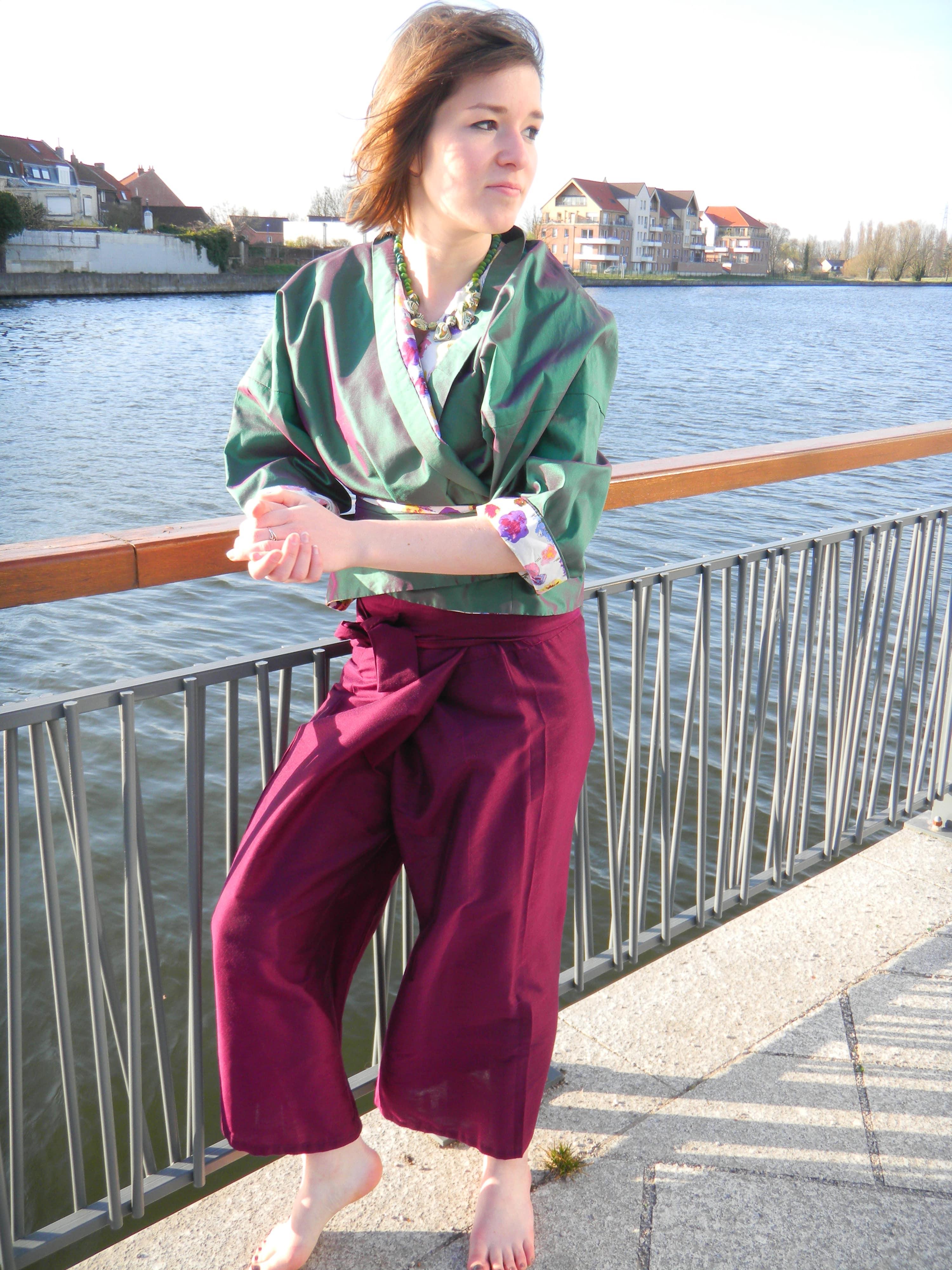 Louise.h vêtement veste pantalon soie verte