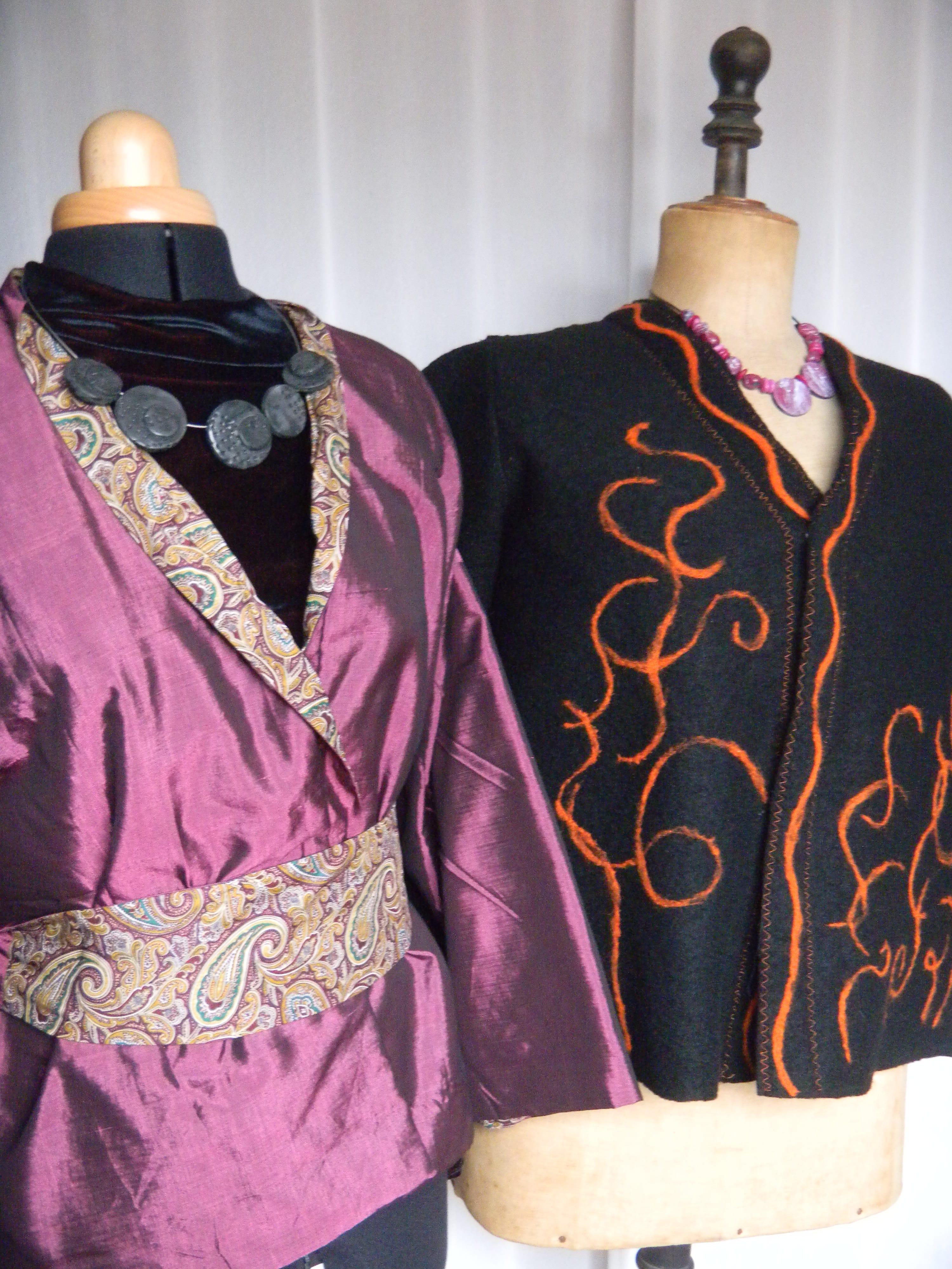 Louise.h vêtement vestes soie et laine feutrée