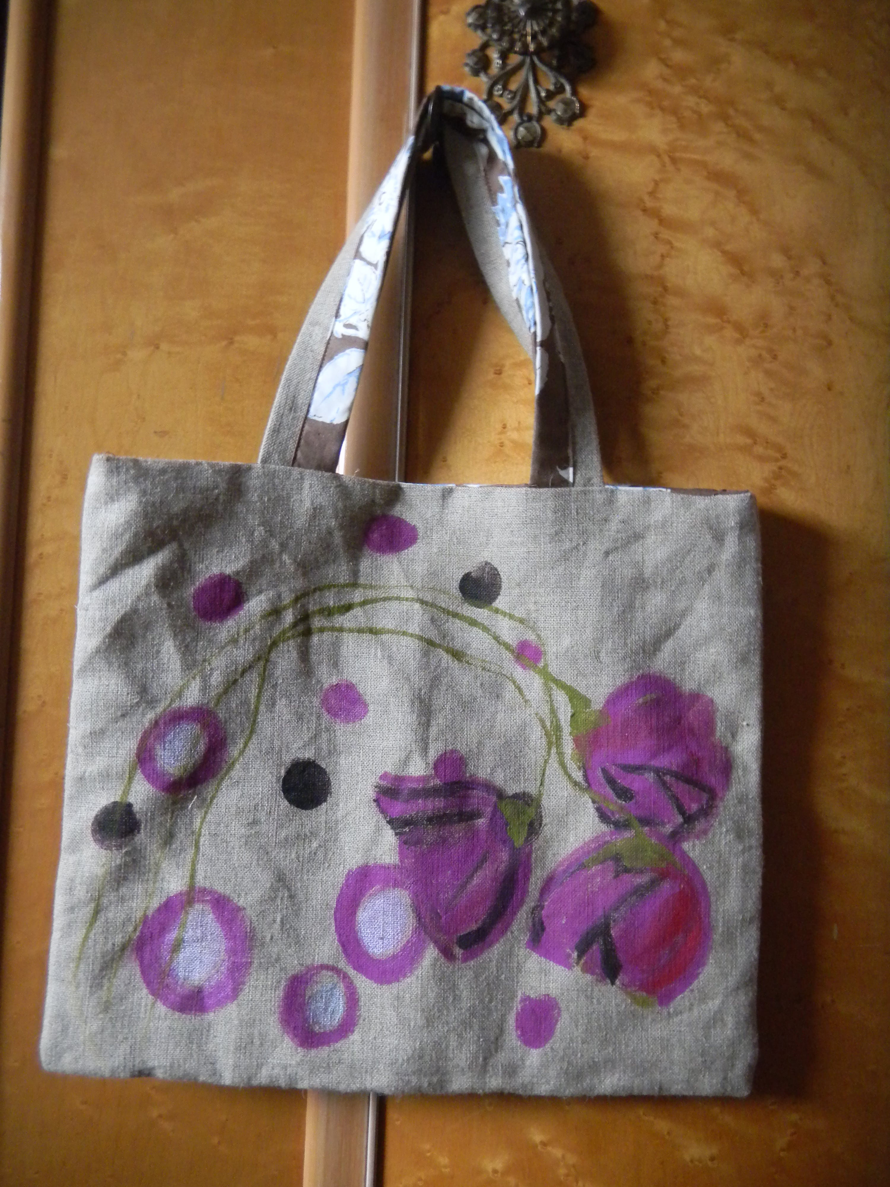 Louise.h accessoires sac en lin peint