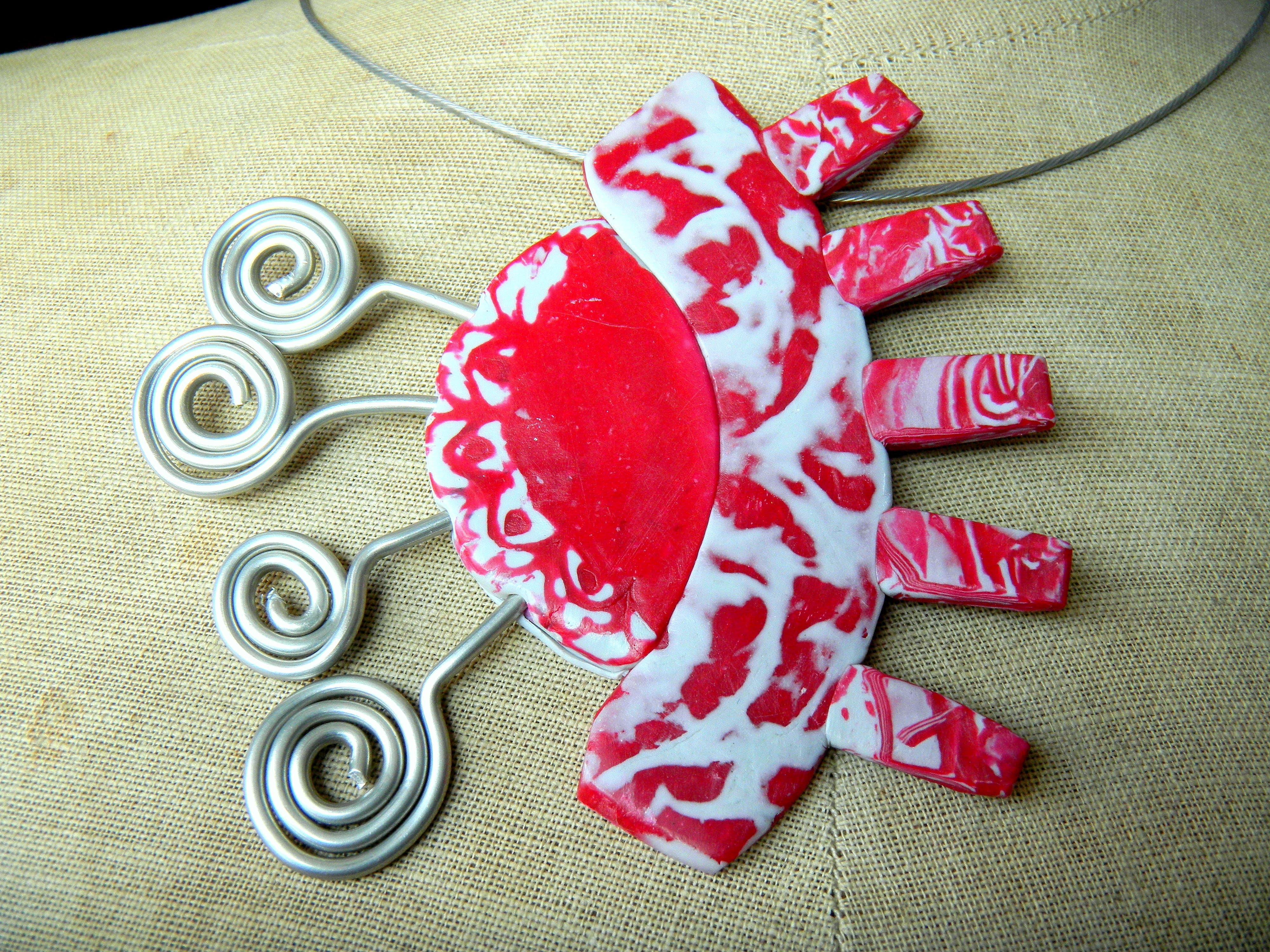 Louise.h bijoux collier rouge gris