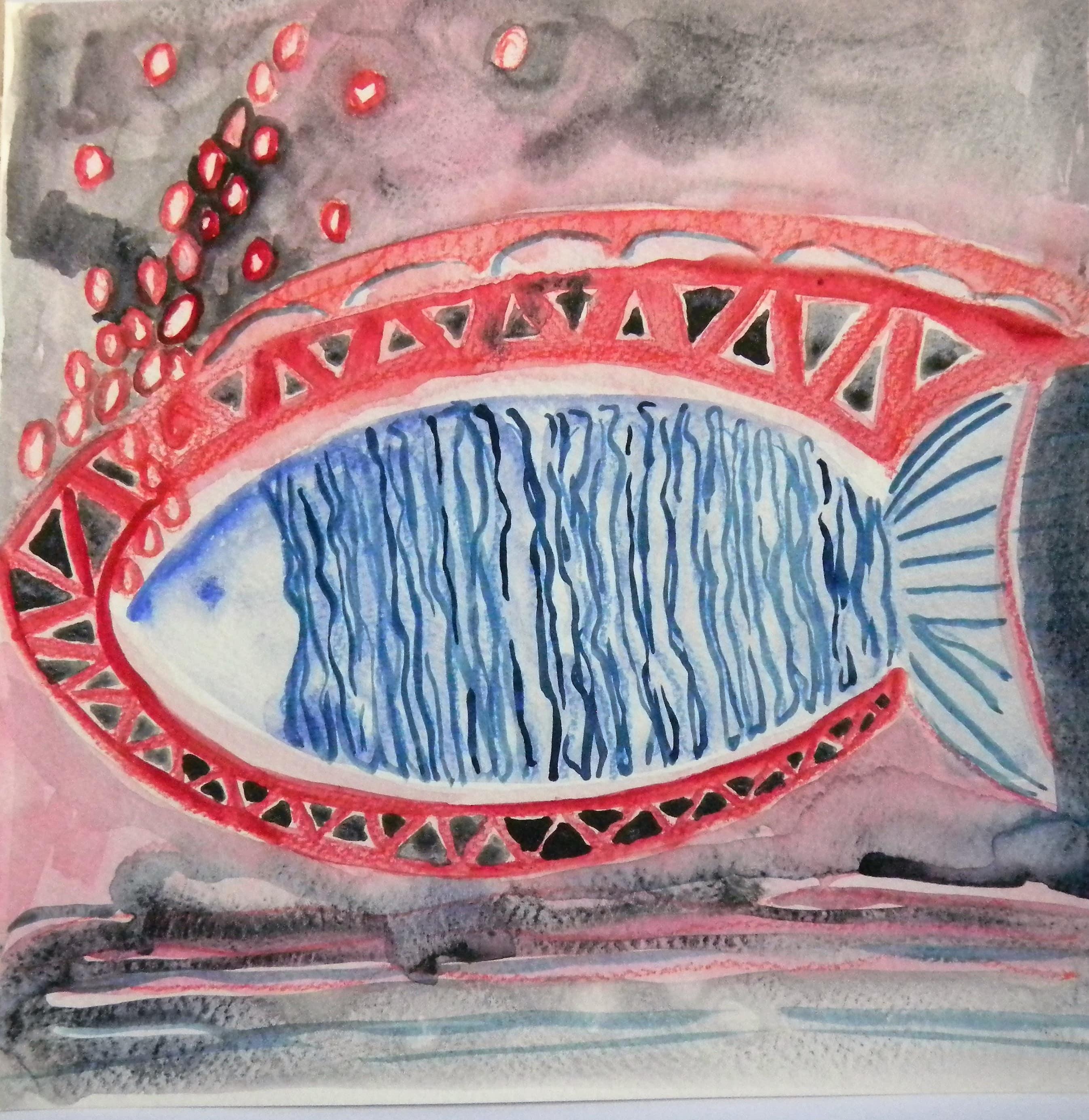 Louise.h peinture aquarelle au poisson