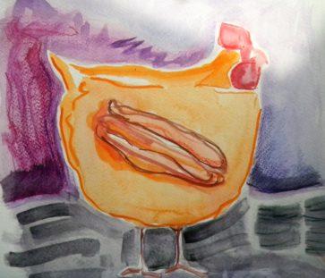 Louise.h peinture aquarelle poule jaune