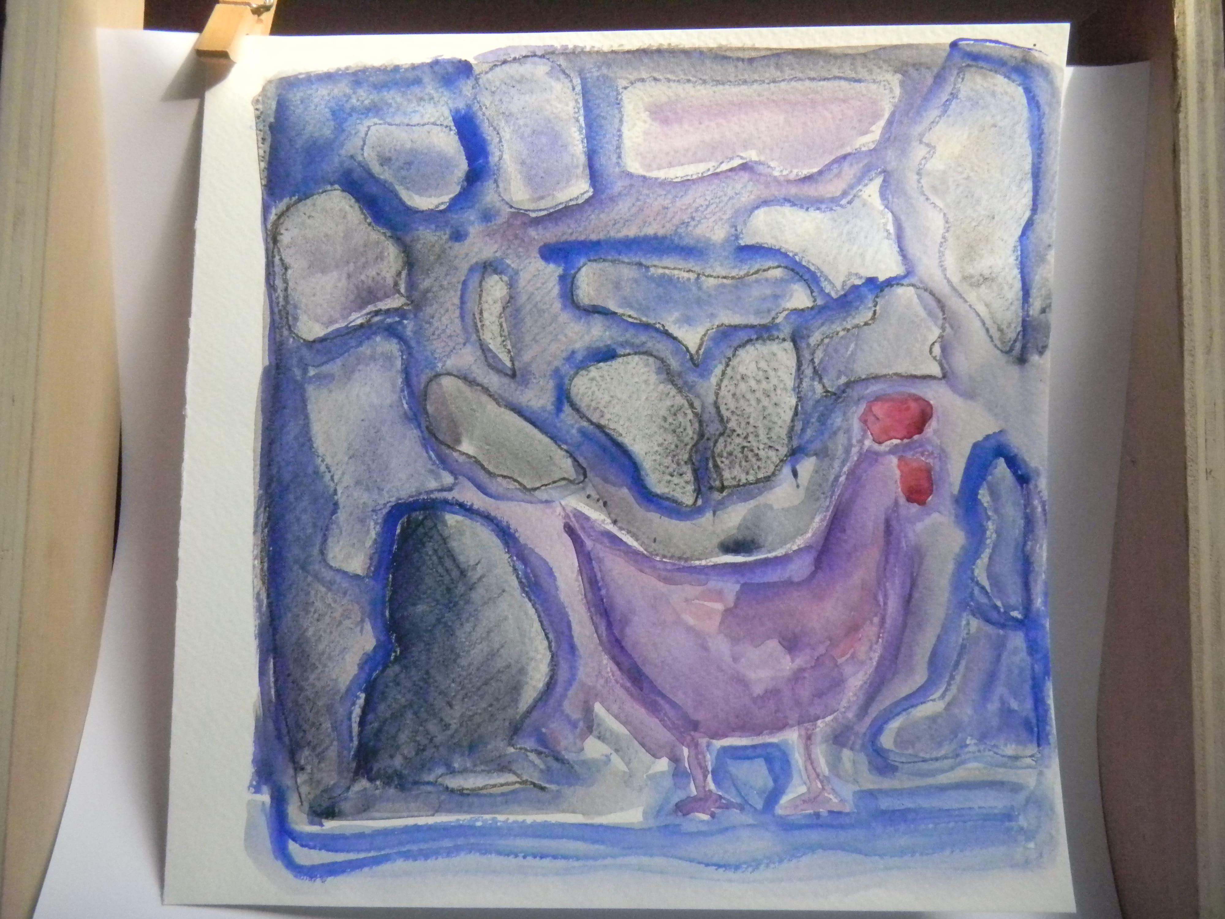 Louise.h peinture aquarelle poule