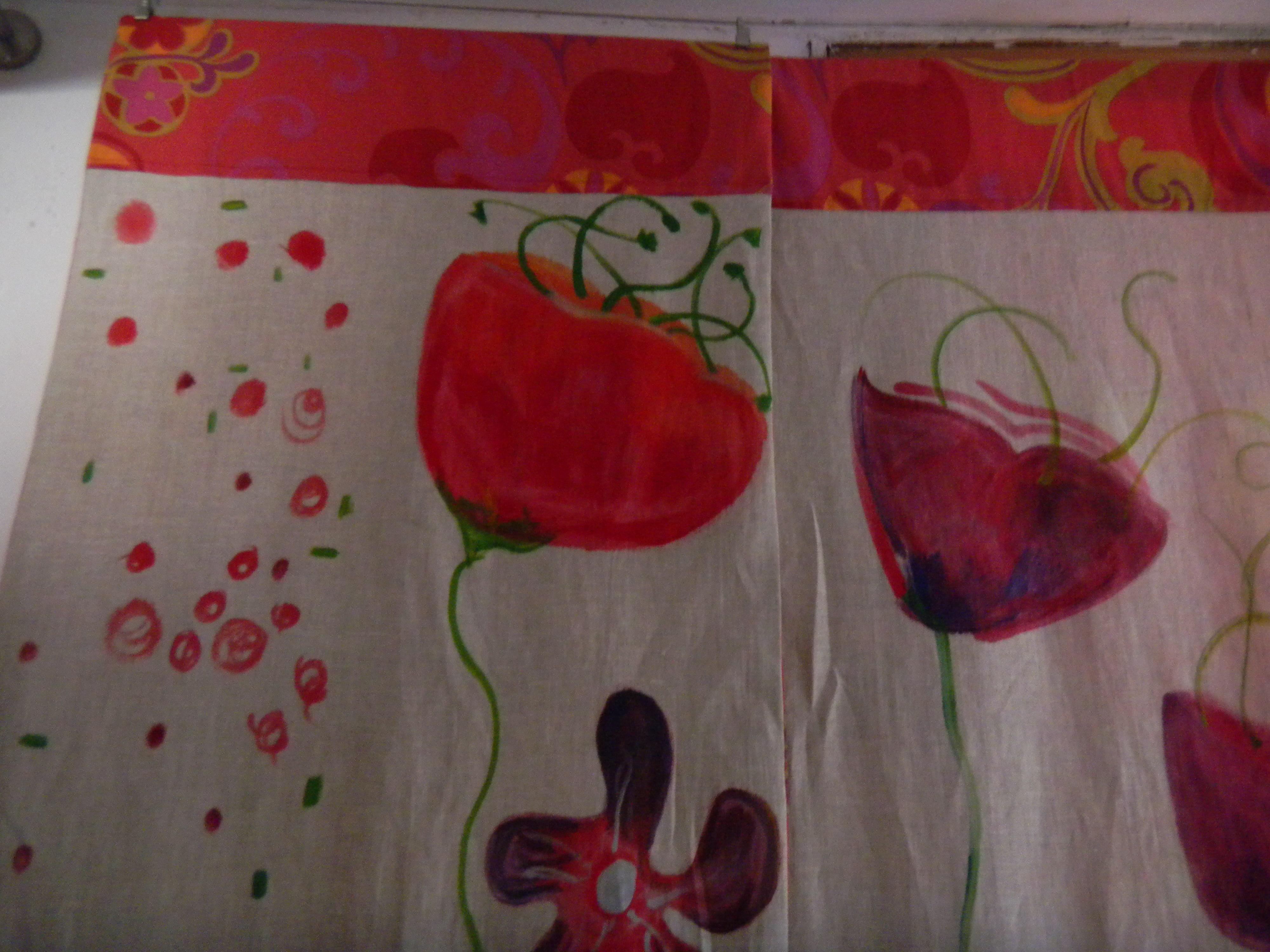 Louise.h décoration rideau peint orange