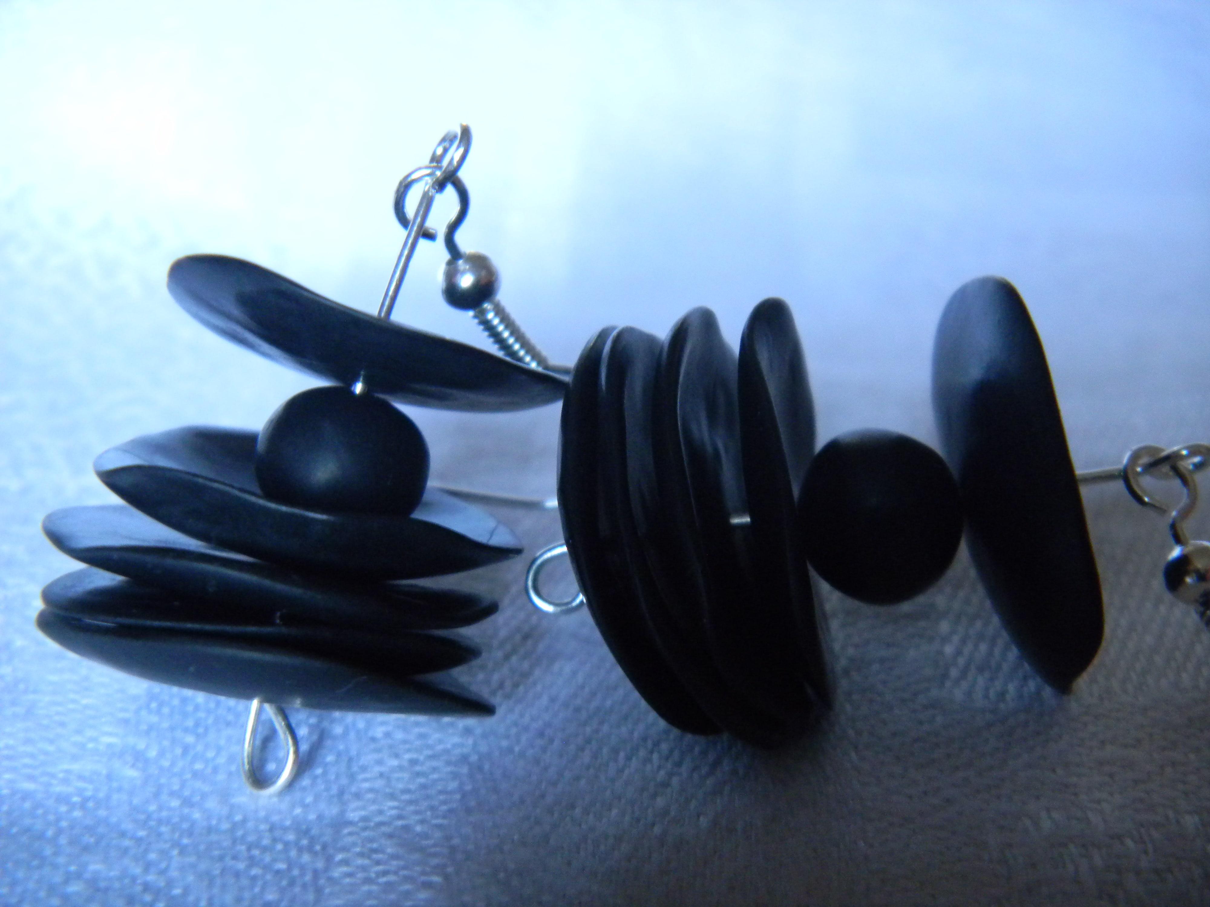 Louise.h bijoux BO noir argenté