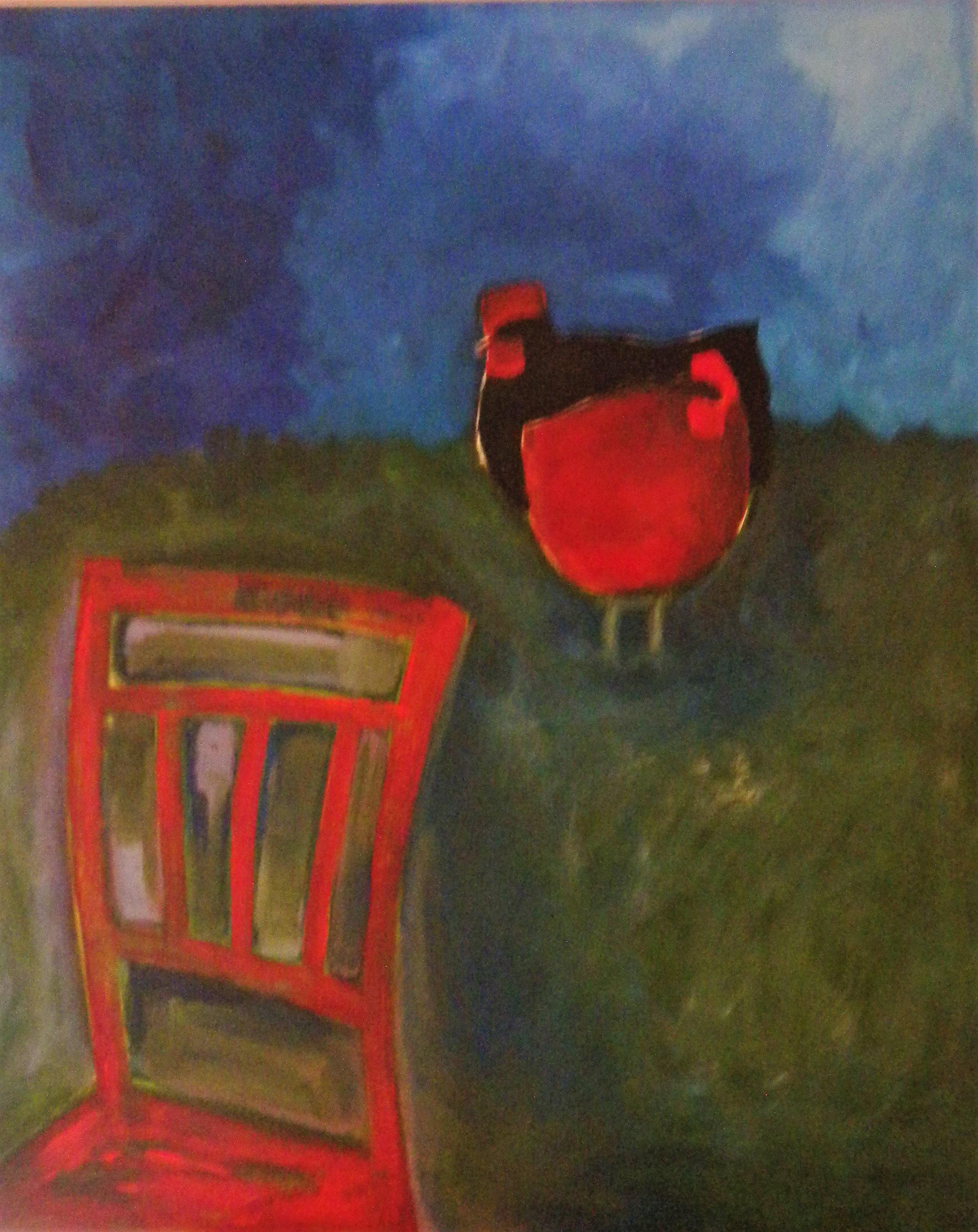 Louise.h peinture poules à la chaise