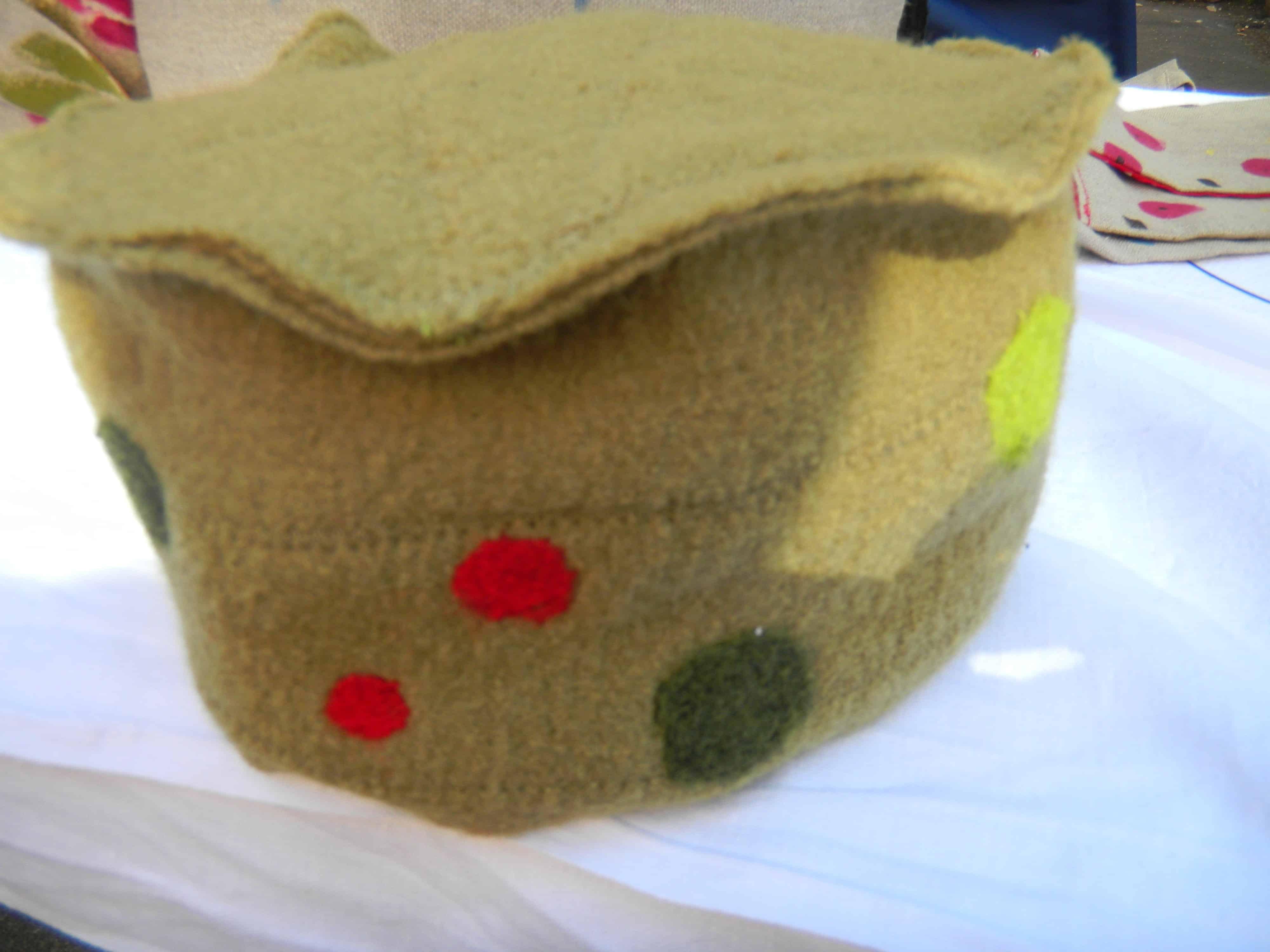 Louise.h accessoires chapeau vert laine bouillie et feutrage