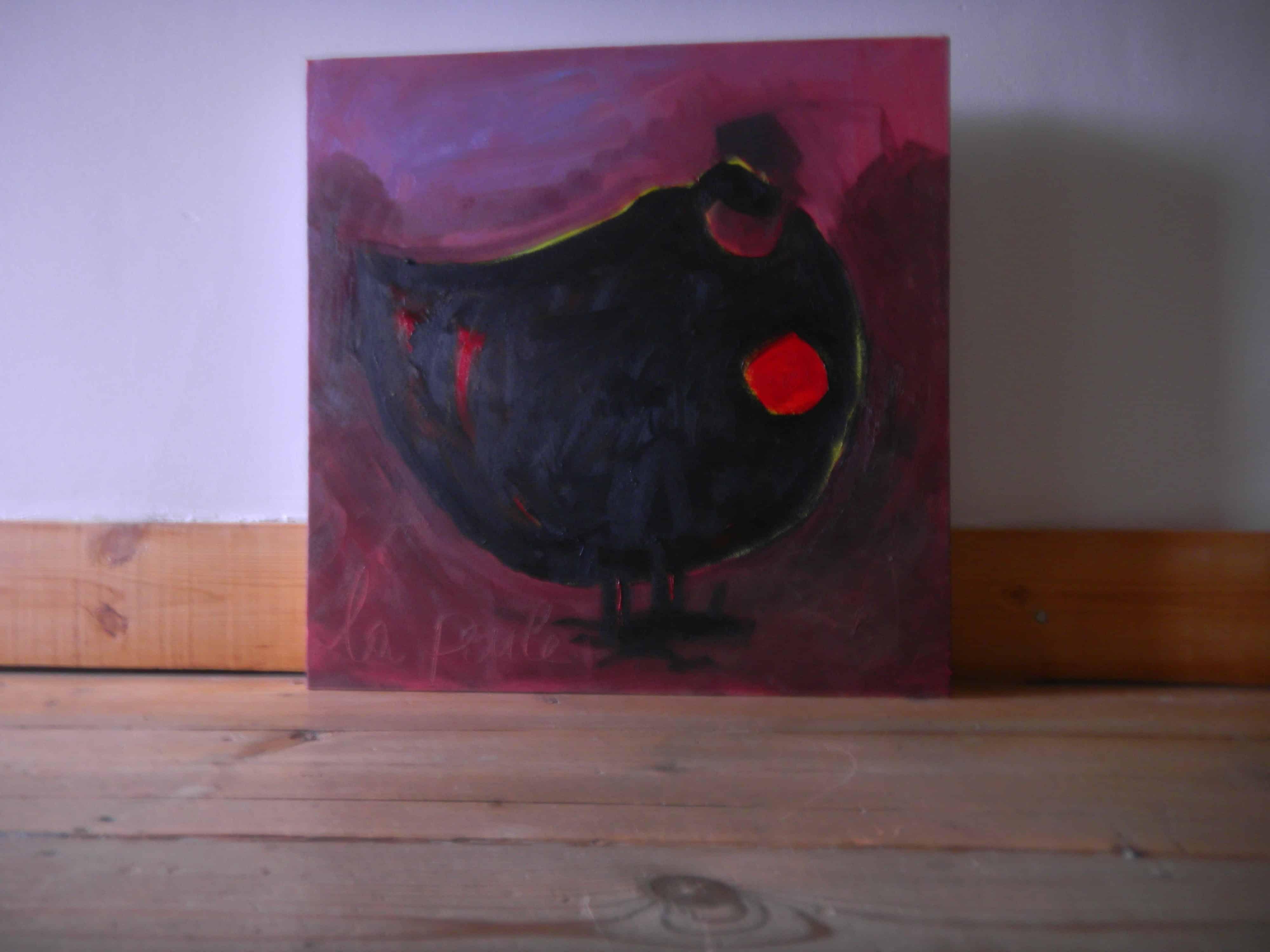 Louise.h peinture Poule noire