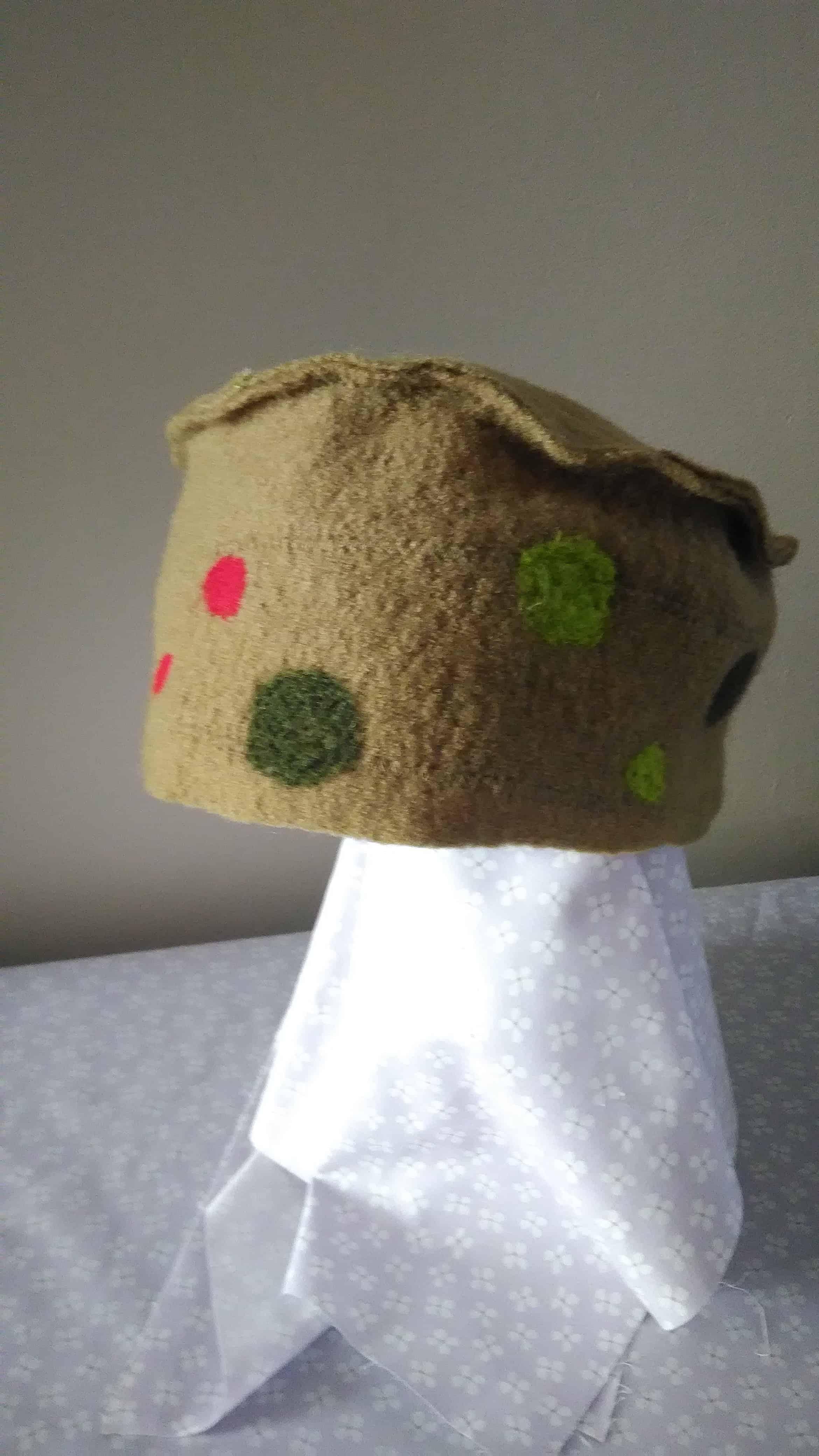 Louise.h accessoires chapeau en laine bouillie vert et feutrage à l'aiguille