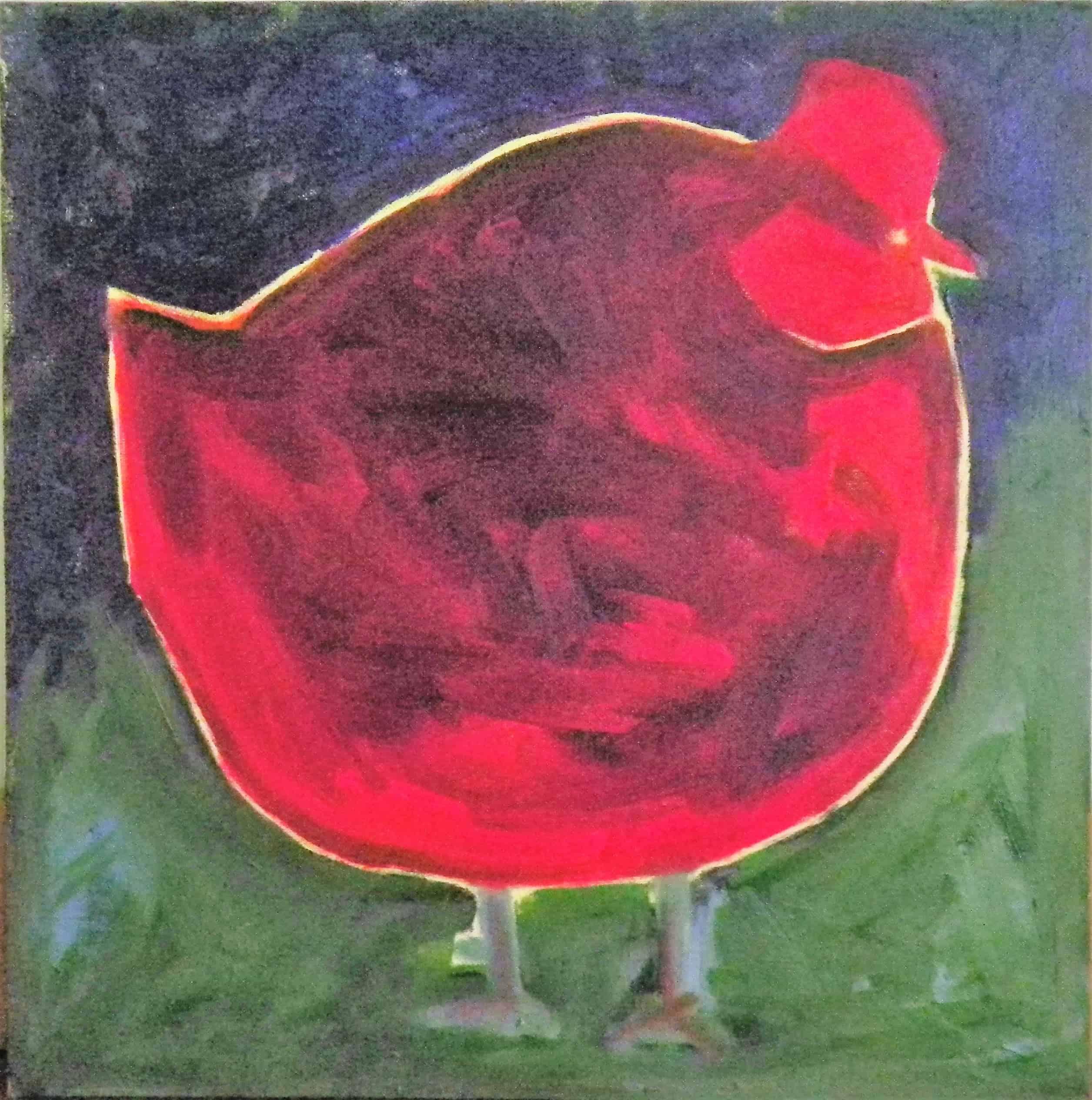 Louise.h peinture poule rouge