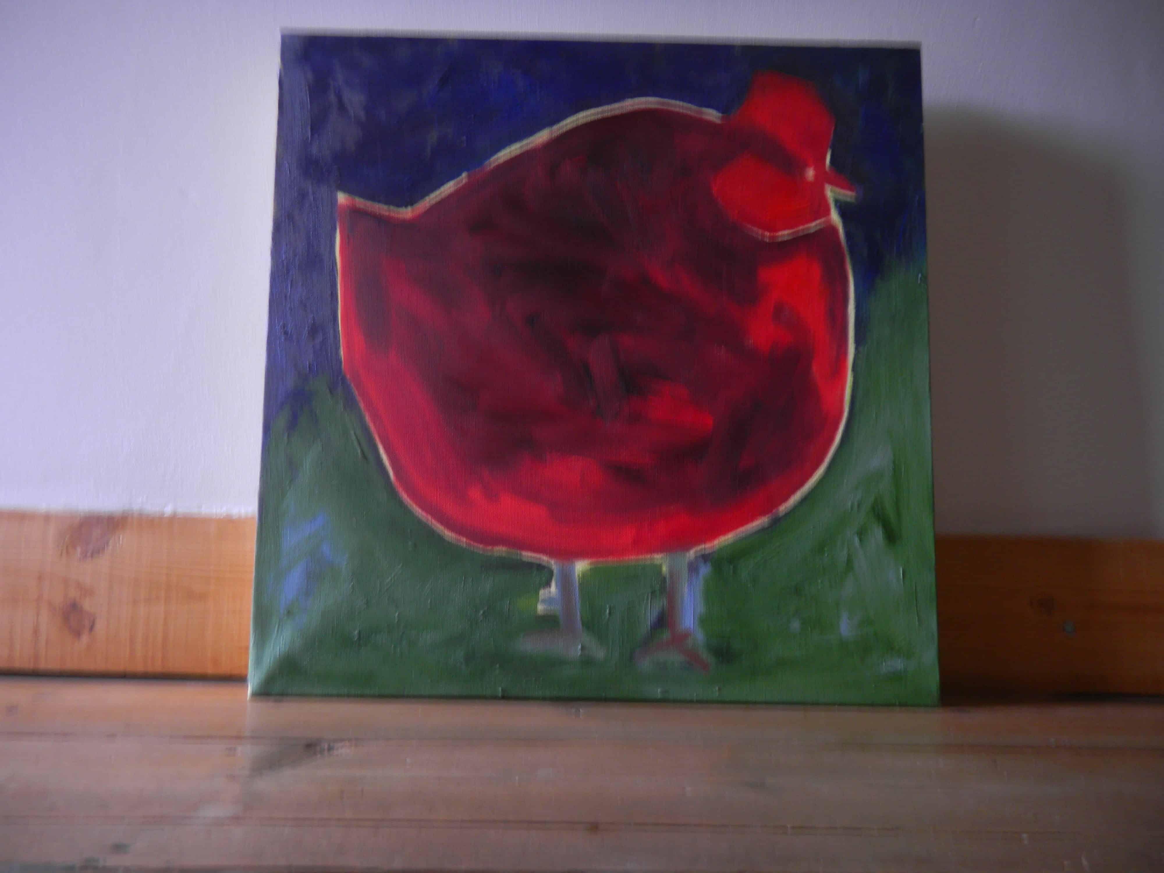 Louise.h peinture poule rouge 2