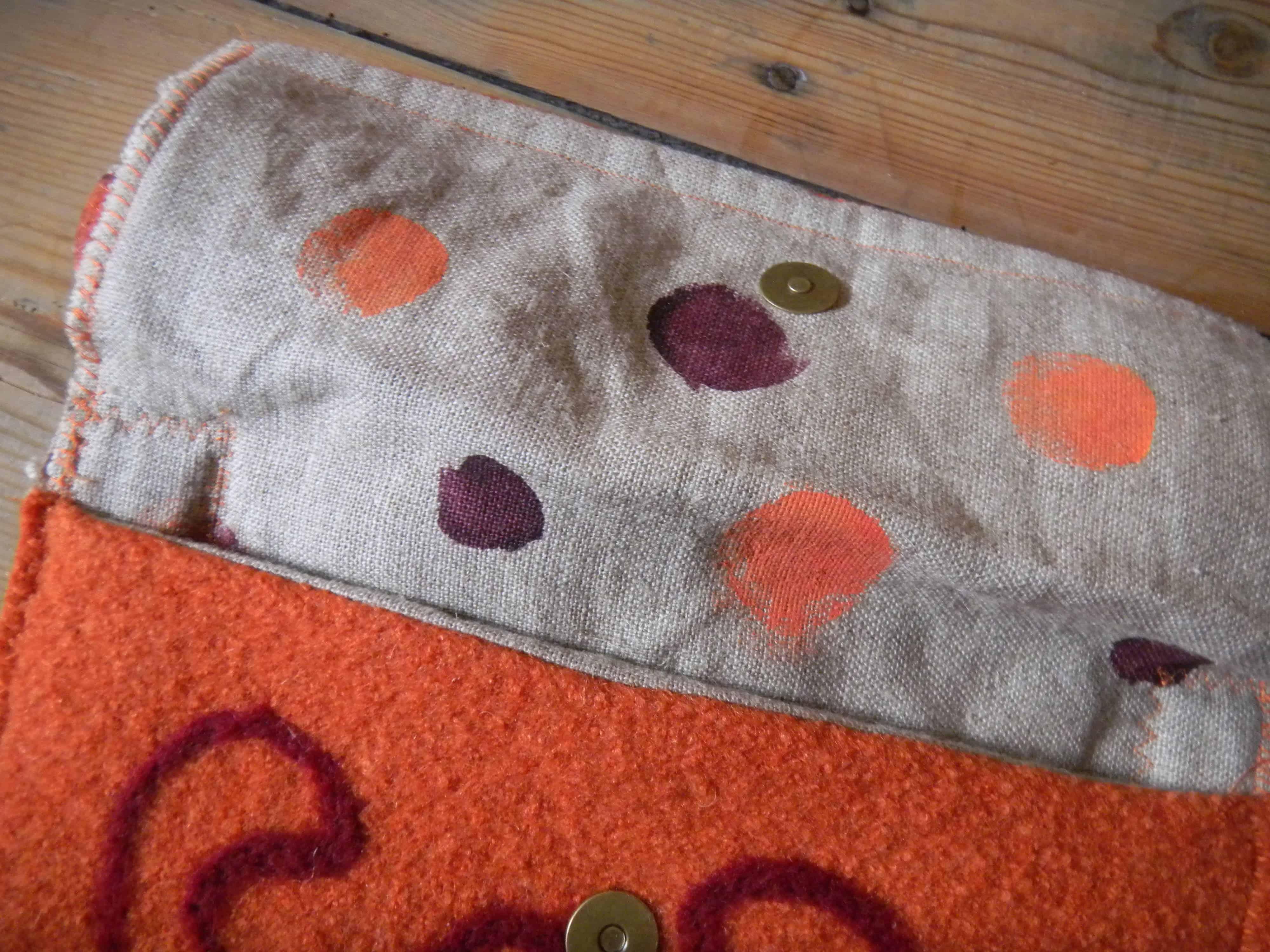 Louise.h accessoires sac laine bouillie orange et feutrage intérieur