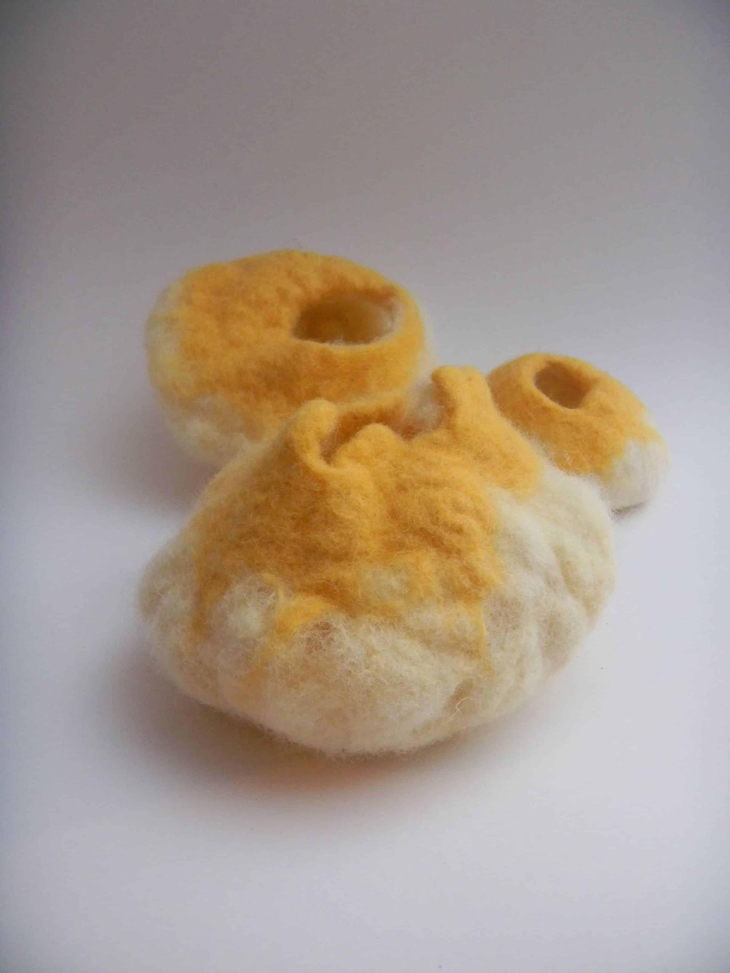 Louise.h décoration 3 pots laine feutrée jaune