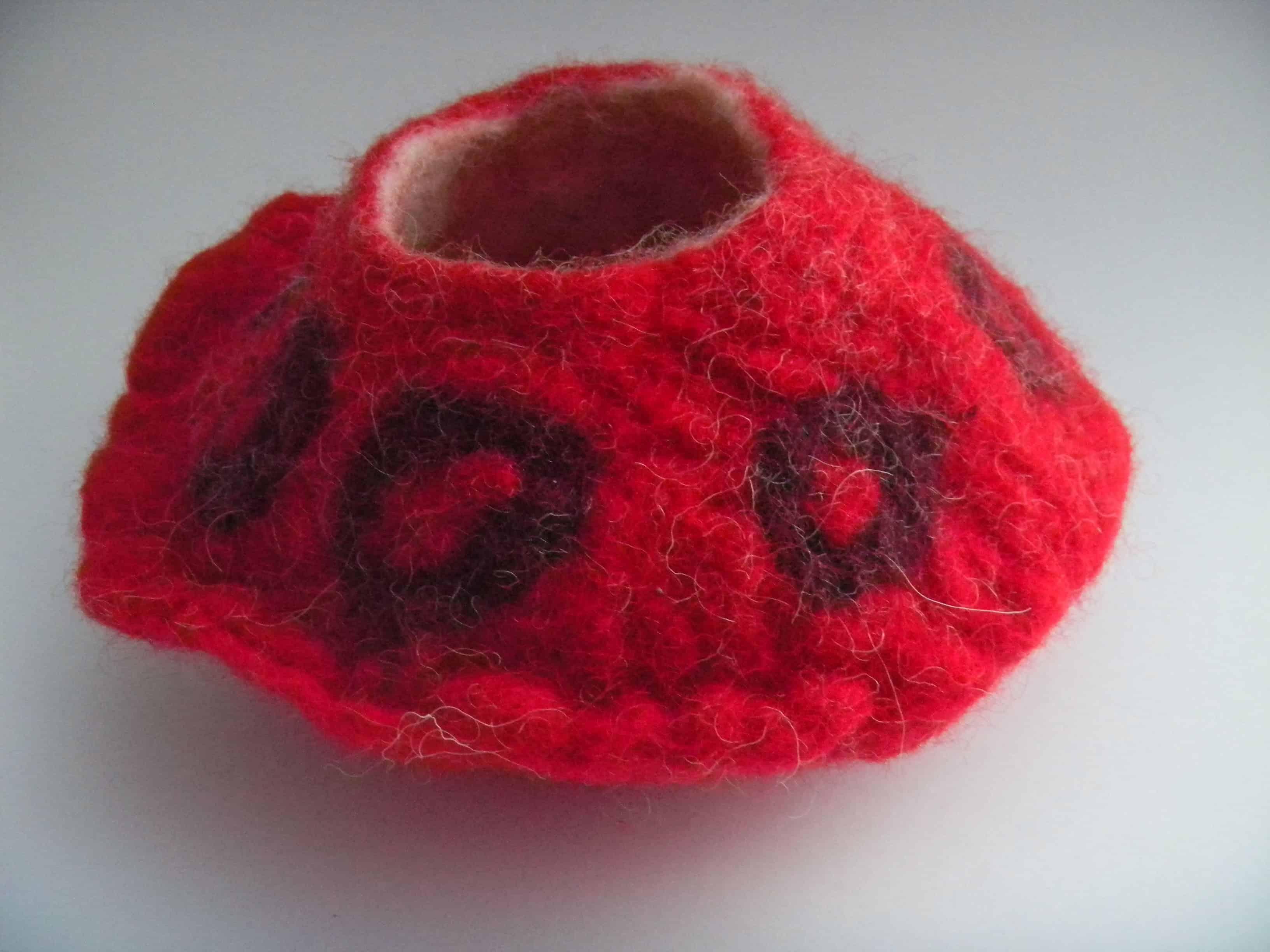 Louise.h décoration pot laine feutrée rouge 6